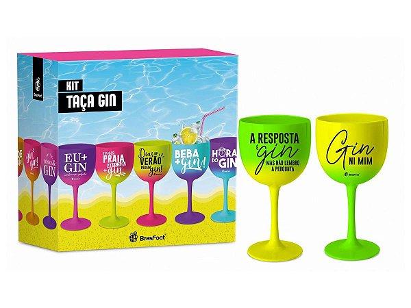 Taça p/ Gin de Plástico 580ml Degradê c/2un Brasfoot