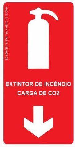 Placa Fotoluminescente - Extintor de Incêndio - Carga de CO²