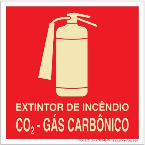 Placa Sinalização de Emergência - Fotoluminescente - Extintor de incêndio CO² - Gás carbônico