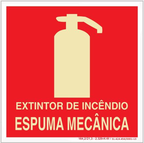 Placa Sinalização de Emergência - Fotoluminescente - Extintor de incêndio - Espuma Mecânica