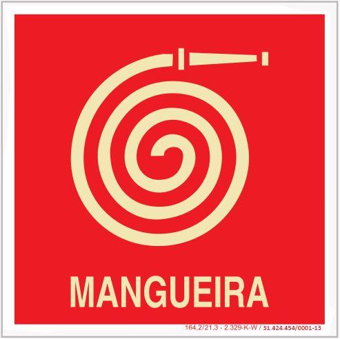 Placa Sinalização de Emergência - Fotoluminescente - Mangueira