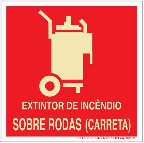Placa Sinalização de Emergência - Fotoluminescente - Extintor de incêndio sobre rodas (carreta)