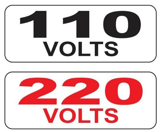 Cartela de Etiqueta de Identificação de Voltagem 110V ou 220V