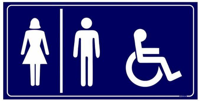 Placa WC Feminino, Masculino e Deficiente