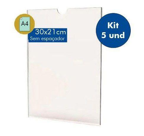 Kit Display Porta Folha A4 em acrílico - 5 unidades Com Filete Espaçador