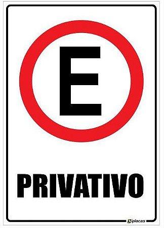 Placa Estacionamento Privativo