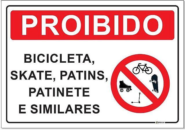 Placa - Proibido - Bicicleta Skate Patins Patinete Similares