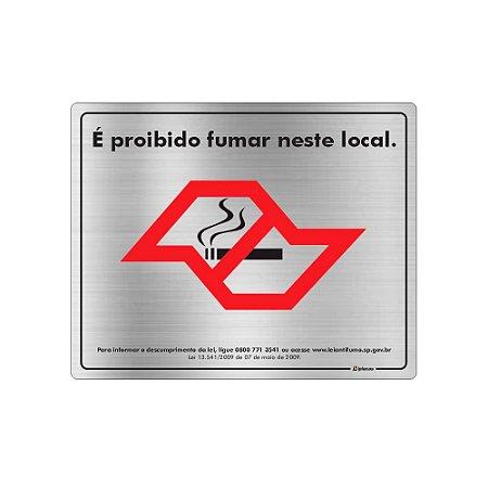 Placa Sinalização - Proibido Fumar Lei Antifumo - Aluminio