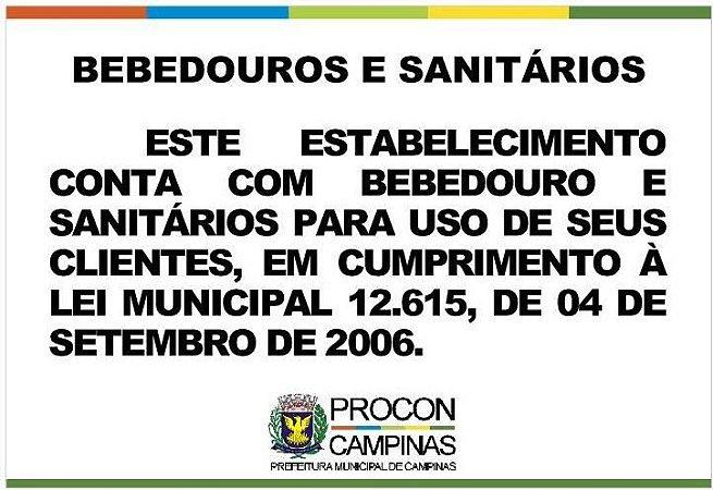 Placa - Bebedouros e Sanitários - Lei Municipal 12.615/2006