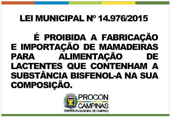 Placa - Uso de Bisfenol - Lei Municipal 14.976/2015