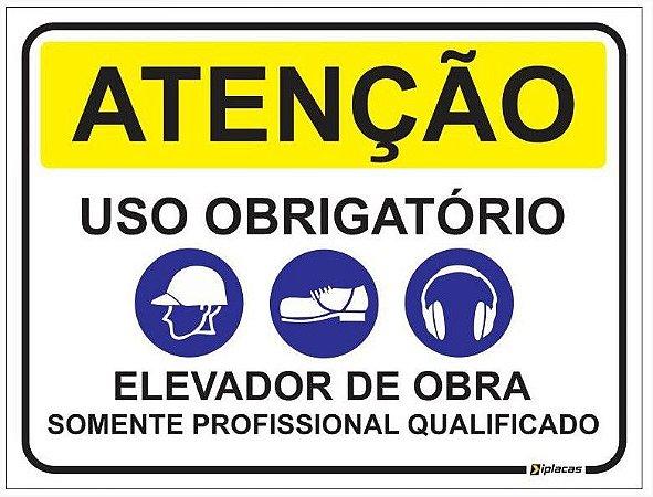 Placa Atenção - Uso obrigatório - Elevador de Obra