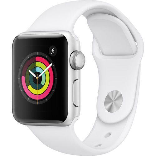 Apple Watch Série 3 38mm (gps) Prova D'água Prata Com Pulseira Branca