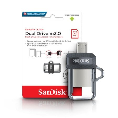 Dual Drive m3.0 32GB 130MB/s - Preto/Prata - Sandisk