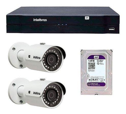 Kit 02 Câmeras IP 2MP FULL HD VIP 3220 B + NVD 1204 Intelbras + HD 1TB