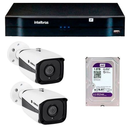 Kit 02 Câmeras IP Full HD Intelbras VIP 1220 B G3 + NVD 1204 + HD  1TB