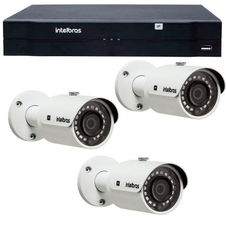 Kit 03 Câmeras IP 1Mp HD 720p Intelbras VIP S 3020 G3 + NVD 1204 Intelbras, NVR, HVR