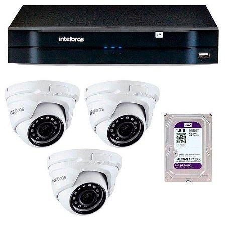 Kit 03 Câmeras IP Full HD Intelbras VIP 1220 D G3 + NVD 1204 + HD 1TB