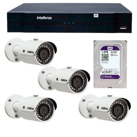 Kit 04 Câmeras de Segurança IP 2Mp Intelbras FULL HD VIP 3220 B  + NVD 1204 Intelbras+ Hd 1TB