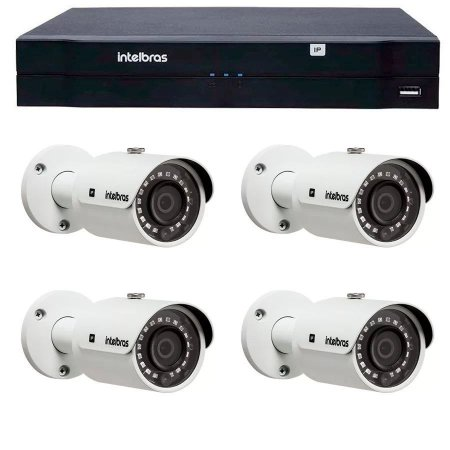 Kit 04 Câmeras IP 2Mp FULL HD VIP 3220 B + NVD 1204 Intelbras