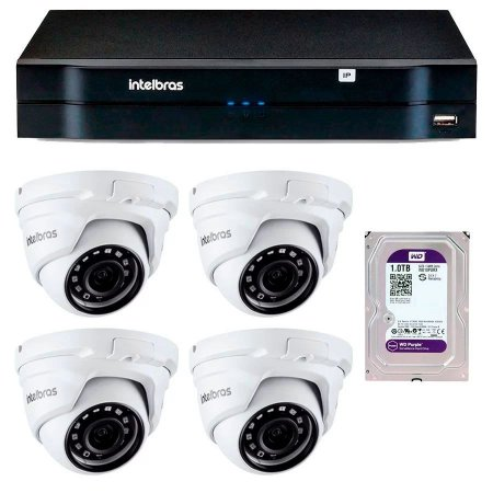 Kit 04 Câmeras IP Full HD Intelbras VIP 1220 D G3 + NVD 1204 + HD 1TB