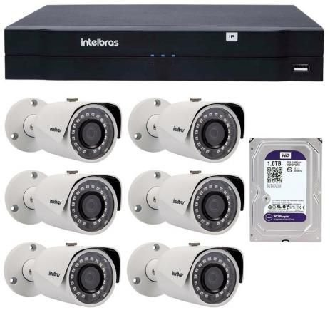 Kit 06 Câmeras IP 1Mp HD 720p Intelbras VIP S 3020 G3 + NVD 1204 Intelbras, NVR, HVR
