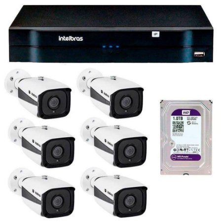 Kit 06 Câmeras IP Full HD Intelbras VIP 1220 B G3 + NVD 1208 + HD 1TB