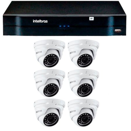 Kit 06 Câmeras IP Full HD Intelbras VIP 1220 D G3 + NVD 1208