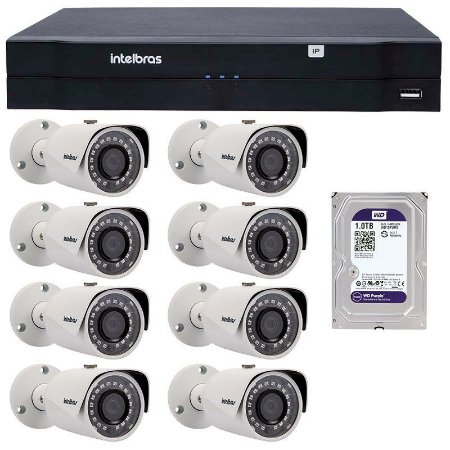 Kit 08 Câmeras IP 1Mp HD 720p Intelbras VIP S 3020 G3 + NVD 1208 Intelbras, NVR, HVR + DB 1TB