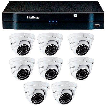 Kit 08 Câmeras IP Full HD Intelbras VIP 1220 D G3 + NVD 1208