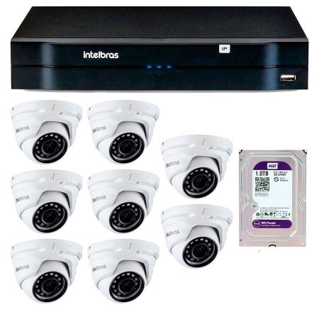 Kit 08 Câmeras IP Full HD Intelbras VIP 1220 D G3 + NVD 1208 + HD 1TB