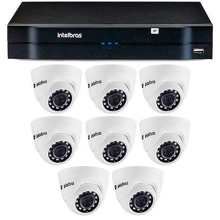 Kit 08 Câmeras IP HD 720p Intelbras VIP 1020 D + NVD 1208