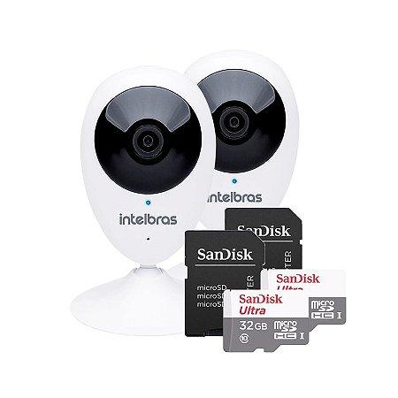 KIT 2 Câmeras IP Wireless IC3 + 2 Cartões SD Ultra 32GB