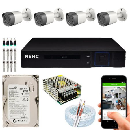 Kit Cftv Dvr Hibrido + 4 Câmeras Ahd BULLET UP58158 3.6MM  ( Com Hd Incluso ) – Nehc