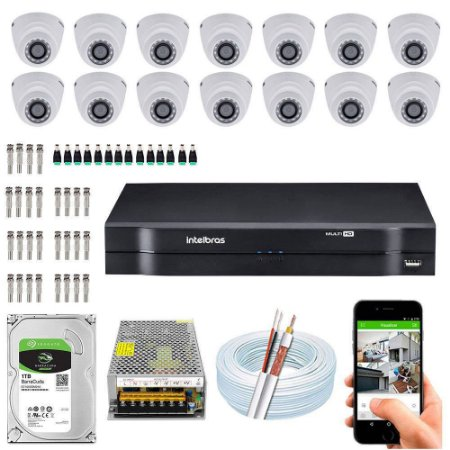 Kit Cftv Dvr Mhdx + 14 Câmeras Vhd 1010 D G4 ( Com HD Incluso ) - Intelbras