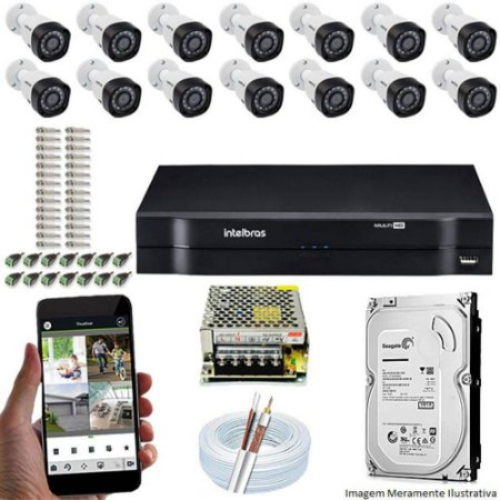 Kit Cftv Dvr + 14 Câmeras Vhd 1220 B G5 ( Com HD ) Intelbras