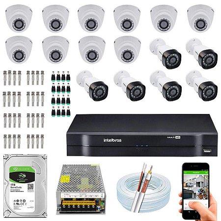 Kit Cftv Dvr Mhdx + 16 Câmeras Vhd 1010 G5 Interna e Externa ( Com HD incluso ) - Intelbras