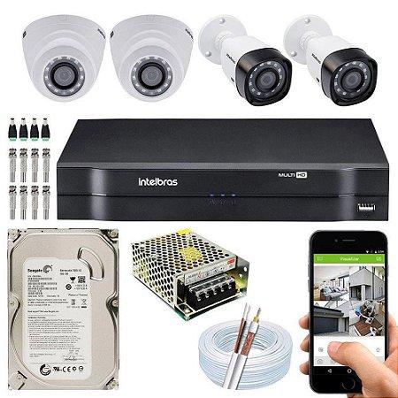 Kit Cftv Dvr Mhdx + 4 Câmeras Vhd 1010 G5 Interna e Externa ( Com HD incluso ) - Intelbras
