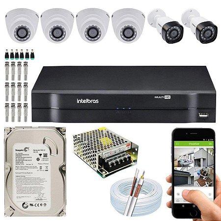 Kit Cftv Dvr Mhdx + 6 Câmeras Vhd 1010 G5 Interna e Externa ( Com HD Incluso ) - Intelbras