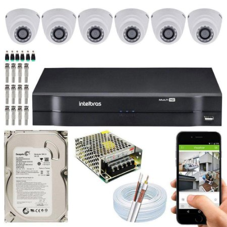 Kit Cftv Dvr Mhdx + 6 Câmeras Vhd 1120 D G4 ( Com HD Incluso ) - Intelbras