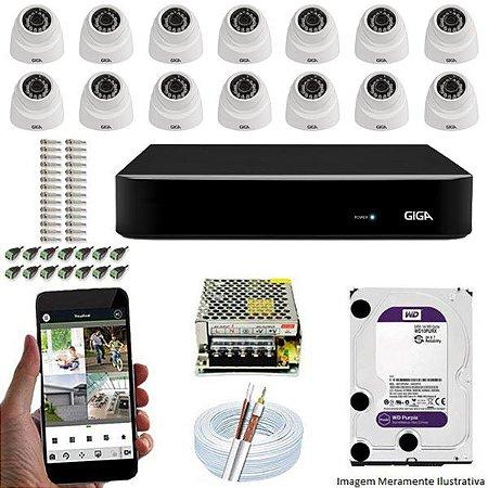 Kit Cftv Dvr Open HD + 14 Câmeras Dome Ahd 720p ( Com HD Incluso ) - Giga