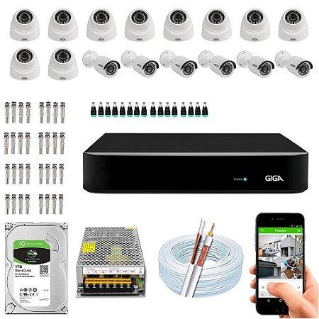 Kit Cftv Dvr Open HD + 16 Câmeras Ahd 720p Interna e Externa ( Com HD Incluso ) - Giga