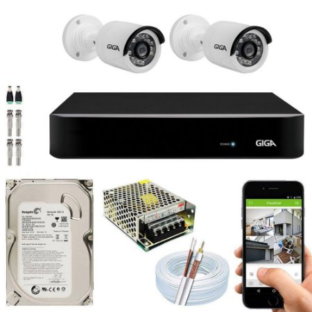 Kit Cftv Dvr Open HD + 2 Câmeras Bullet Ahd 720p ( Com HD Incluso ) - Giga