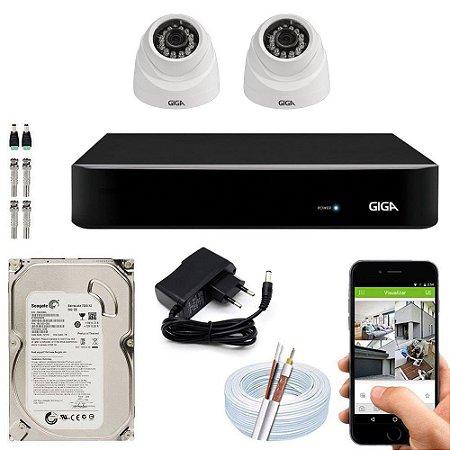 Kit Cftv Dvr Open HD + 2 Câmeras Dome Ahd 720p ( Com HD Incluso ) - Giga