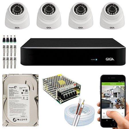 Kit Cftv Dvr Open HD + 4 Câmeras Dome 1080p ( Com HD Incluso ) - Giga