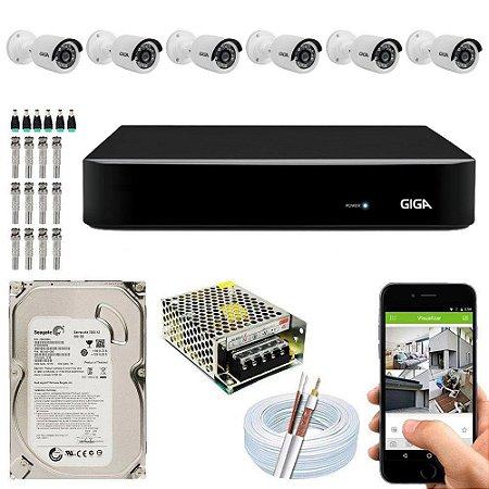 Kit Cftv Dvr Open HD + 6 Câmeras Bullet 1080p ( Com HD Incluso ) - Giga