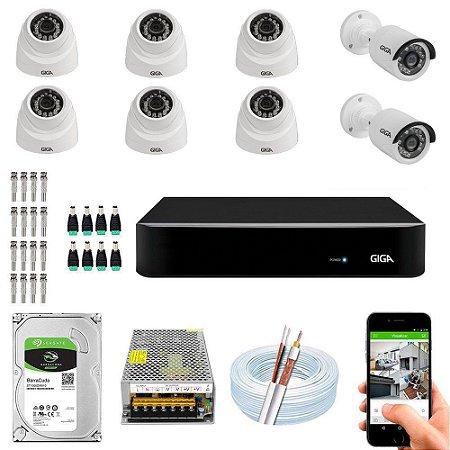Kit Cftv Dvr Open HD + 8 Câmeras 1080p Interna e Externa ( Com HD Incluso ) - Giga