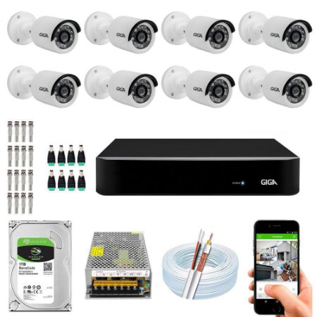 Kit Cftv Dvr Open HD + 8 Câmeras B 1080p ( Com HD Incluso ) Giga