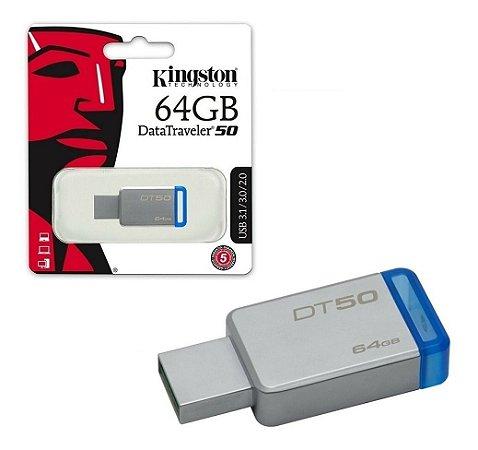 Pen Drive 64GB 3.1/3.0/2.0 USB DataTraveler50 Prata - Kingston