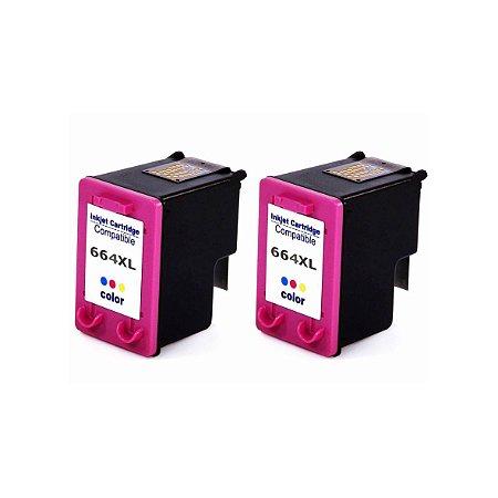 Kit 2 Cartuchos de Tinta Compativel HP 664xl (F6V30) Colorido 12ml