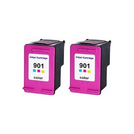 Kit 2 Cartuchos de Tinta Compativel HP 901xl (CC656) Colorido 20ml